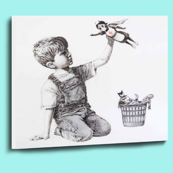Fantastic Banksy game changer NHS nurse superhero canvas wall art picture print